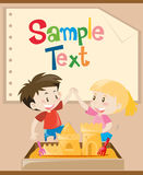 Paper template with kids playing sand. Illustration Stock Photo