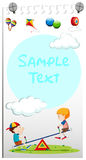 Paper template with kids playing see-saw Royalty Free Stock Photography