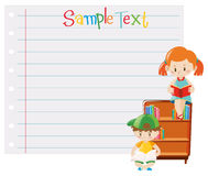 Paper template with kids reading books. Illustration Royalty Free Stock Photography