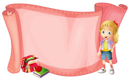 Paper template with little girl and  schoolbag Royalty Free Stock Photo
