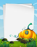 Paper template with pumpkin in the field Stock Photos