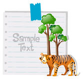 Paper template with tiger and tree. Illustration Royalty Free Stock Photo