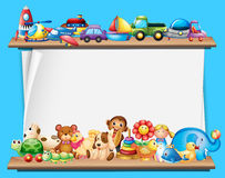 Paper template with toys on shelves Royalty Free Stock Photos