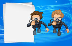 Paper template with two scuba divers Stock Photos