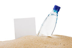 Paper for the text and a bottle of water Stock Photo