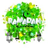 Paper text Ramadan for congratulations with muslim celebration and lanterns. Backgrounds of hand drawn blots. Paper text Ramadan for congratulations with muslim Stock Images