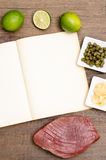 Paper with text space and tuna fish and ingredients Stock Photo