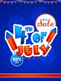 4th of July Sale Template, Banner or Flyer design. Paper Text 4th of July on blue fireworks explosion background. Big Sale Template, Banner or Flyer for Stock Images