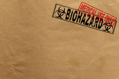 Paper texture with Bio Hazard and medical use only stamps Royalty Free Stock Photo