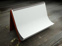 Paper texture in blank calendar on table. 3d paper texture in blank calendar on table Royalty Free Stock Image