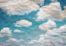 Wrinkled Paper. And sky backgroud Royalty Free Stock Images