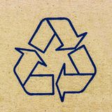 Paper texture. Recycle sign on paper texture stock images