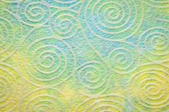 Paper texture with spiral pattern. Japanese Washi tissue with white Uzumaki pattern spirals against marbled mulberry paper royalty free stock photo