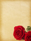 Paper textures. Old paper textures with   red roses Royalty Free Stock Photos
