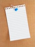 Paper and thumb tack Royalty Free Stock Photos