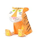 Paper Tiger. Handmade paper smiling    tiger iwolated over white background Royalty Free Stock Images