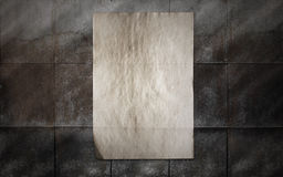 Paper on tile wall Stock Images