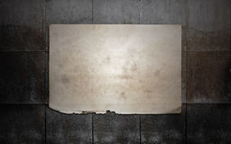 Paper on tile wall Stock Image