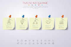 Paper timeline infographics with icons set. Stock Image