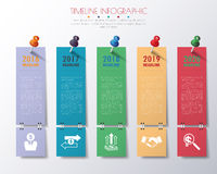 Paper timeline infographics with icons set. Stock Photo
