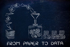 From paper to data: factory machines turning documents into orga. From paper to data: factory machines turning unorganized documents into processed information Stock Image