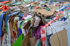 Paper to recycle. A pile of colourful paper (cardboard boxes) waiting to be recycled Royalty Free Stock Photo