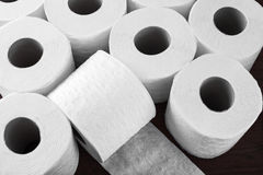 Paper toilet rolls. Rolls of toilet paper for hygiene bathroom stock images