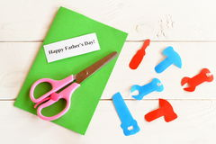 Paper tools, scissors, set for greeting card father's day. Happy father's day. How to make a greeting card. Kids crafts Stock Photo