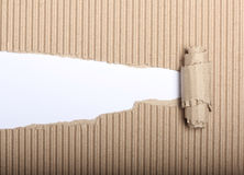 Paper and torn cardboard. White paper with copy space and torn cardboard Royalty Free Stock Image