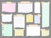 Paper torn page notes. Blank notepad pages with adhesive tape pieces  illustration. Paper glued to wall with tape Royalty Free Stock Photo