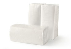 Paper towels. Paper napkins and towels in closeup on white Royalty Free Stock Photo