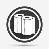 Paper towels sign icon. Kitchen roll symbol. Circle flat button with shadow and border. Vector royalty free illustration