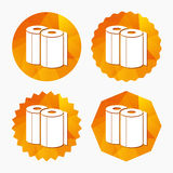 Paper towels sign icon. Kitchen roll symbol. Triangular low poly buttons with flat icon. Vector vector illustration