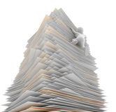 Paper Tower. 3D character struggling to climb a mountain of paper Stock Image