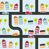 Paper town seamless pattern Royalty Free Stock Photo