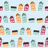 Paper town seamless pattern Stock Image