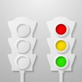 Paper traffic light Royalty Free Stock Photo