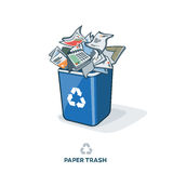 Paper Trash in Recycling Bin Royalty Free Stock Photo