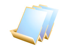 Paper tray. Vector artwork of filing tray with three sheets Royalty Free Stock Photos