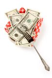 Paper tray and dollars Royalty Free Stock Image