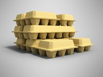 Paper trays with eggs 3d render on gray background with shadow vector illustration