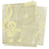 Paper treble clef and music notes on sheet in line Royalty Free Stock Image
