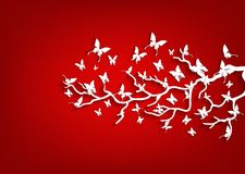 Paper tree and butterflies on red background Stock Photo