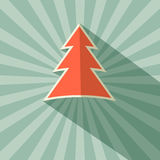Paper Tree Retro Vector Illustration. On Green Background Stock Photography