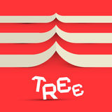 Paper Tree Vector Symbol. On Red Background Royalty Free Stock Images