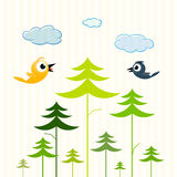 Paper Trees, Birds and Clouds Stock Images