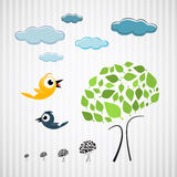 Paper Trees, Birds and Clouds on Cardboard Stock Image