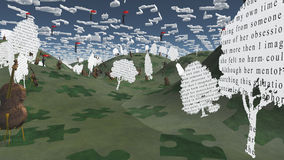 Paper trees with text and Cellos sit in hilly landscape with Mus. Ical Notes for Clouds Stock Images