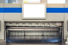 Paper Trimmer Machine Trimming Print Production Industrial Machi. Nery Engineering Professional Blade Guillotine Idle Empty Blank Screen Royalty Free Stock Photo
