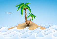 Paper tropical island with palm tree Stock Image